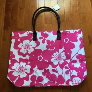 New Macy's Large Pink Floral Tote Bag